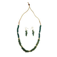 Elegant Green Necklace And Earring Set Simple And Classic