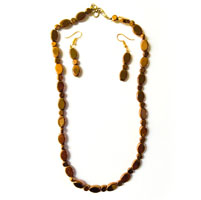 Golden Color Oval Shaped Beads Necklace