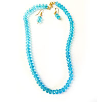 Necklace with light blue color crystals