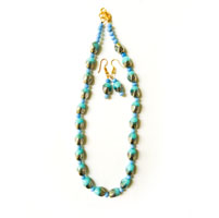 Necklace with unique shaped light blue and silver color beads