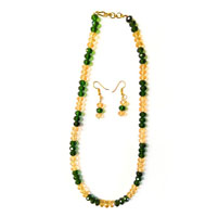 Multicolor necklace with green and light yellow color beads
