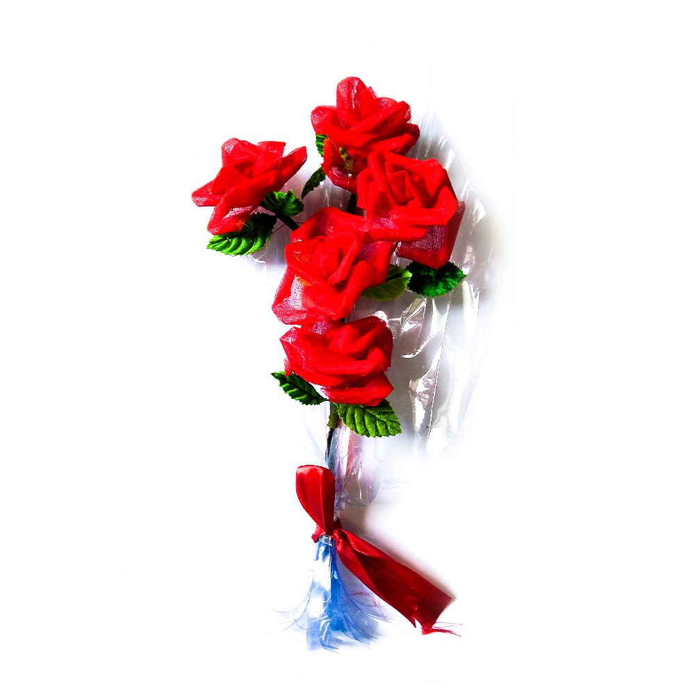 Red Rose Flower Bouquet Made By People With Special Needs