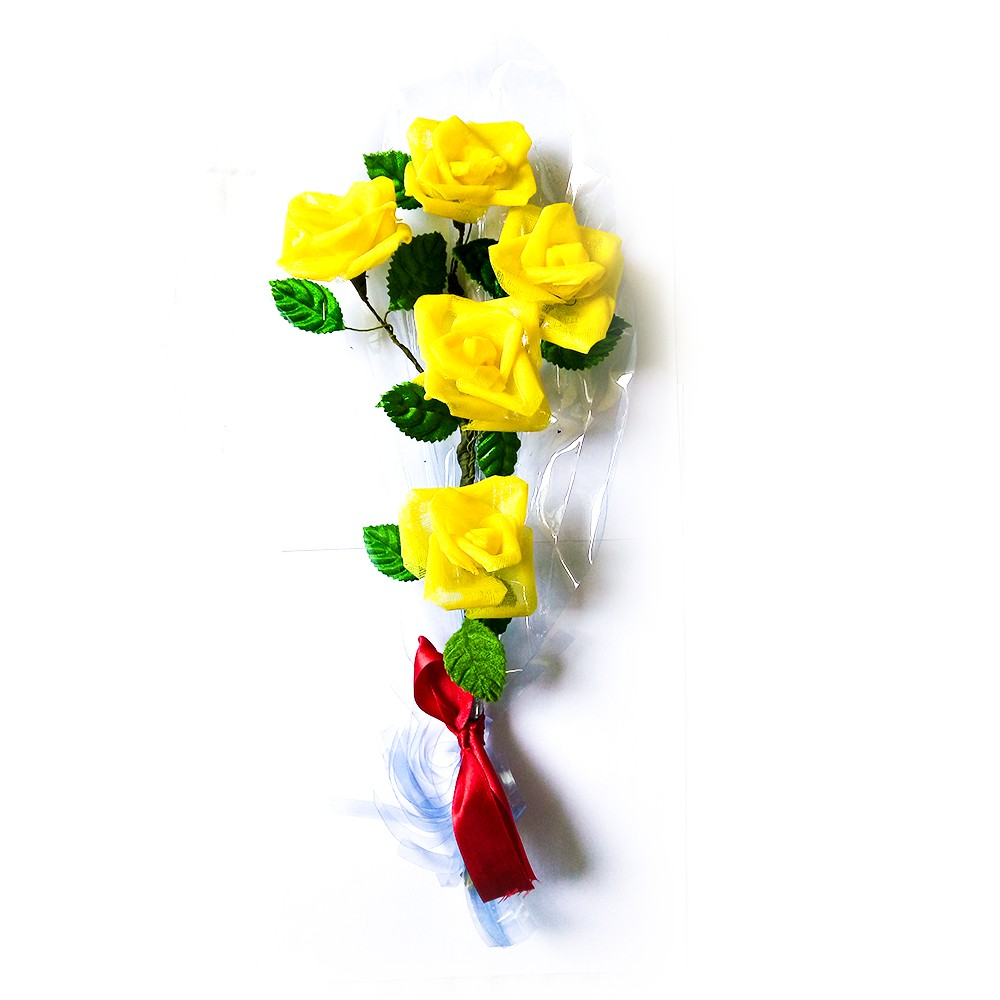 Yellow Rose Flower Bouquet Artificial Made By People With Special Needs