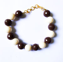 Beads Bracelet in Brown and White Colour (2 Nos)